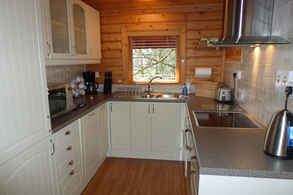 Kitchen equipment includes full sized fridge freezer, dishwasher, washing machine, tumble dryer and AEG oven and hob.