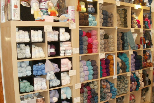 The shelves are full of lovely yarns!