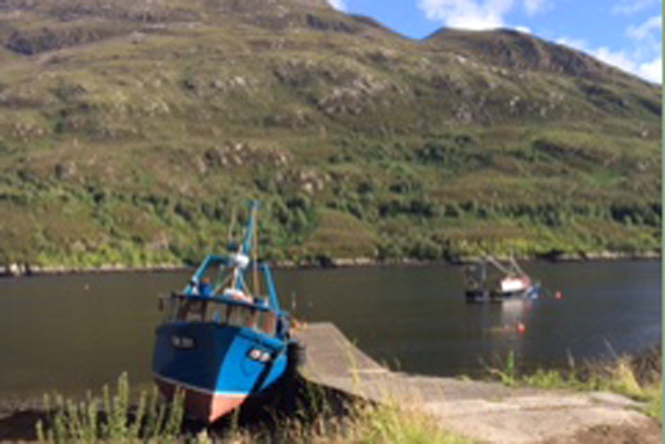 Fishing boat docked on Loch Leven